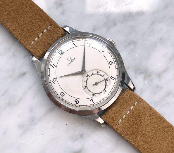 Vintage Omega Oversize Jumbo Beautifully Restored White Bullseye dial