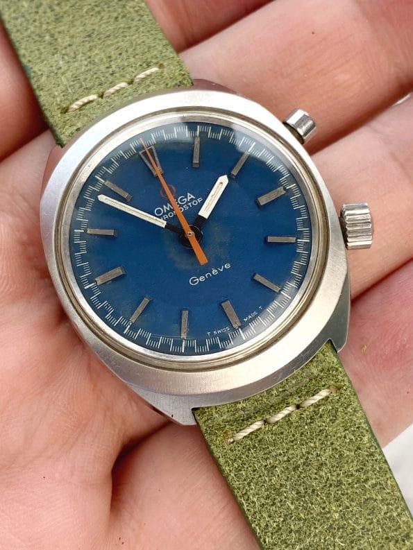Serviced and Rare Omega Chronostop Rare Blue Dial Orange Hand