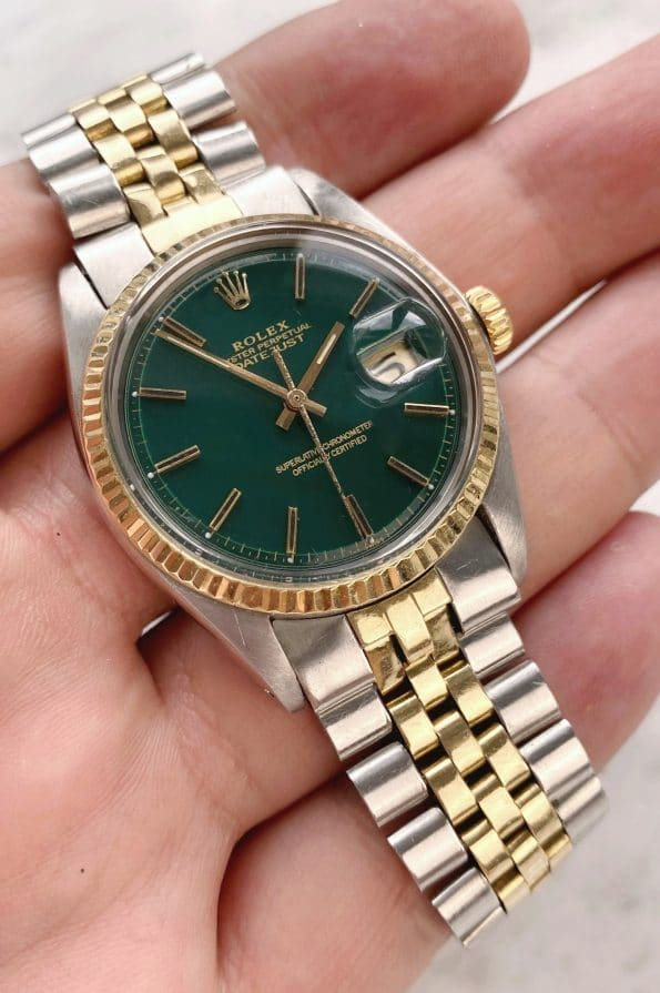 Vintage Rolex 1601 Datejust Steel Gold Customised Green Dial Automatic