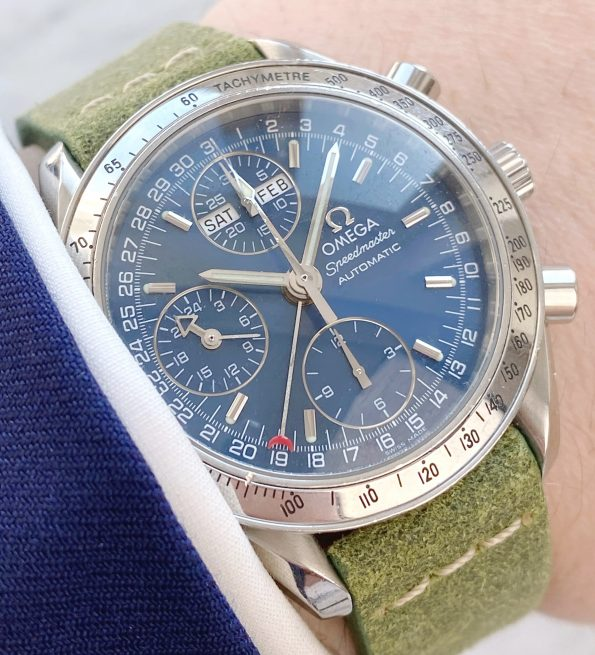 Omega Speedmaster Automatic Triple Date Day Date Blue Dial