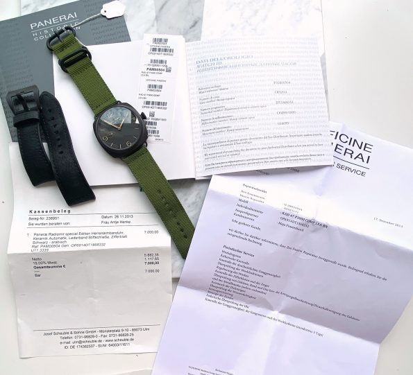 Original Panerai Radiomir 3 days Full Set Box Papers PAM 00504 PAM00504 BLACK OP6814