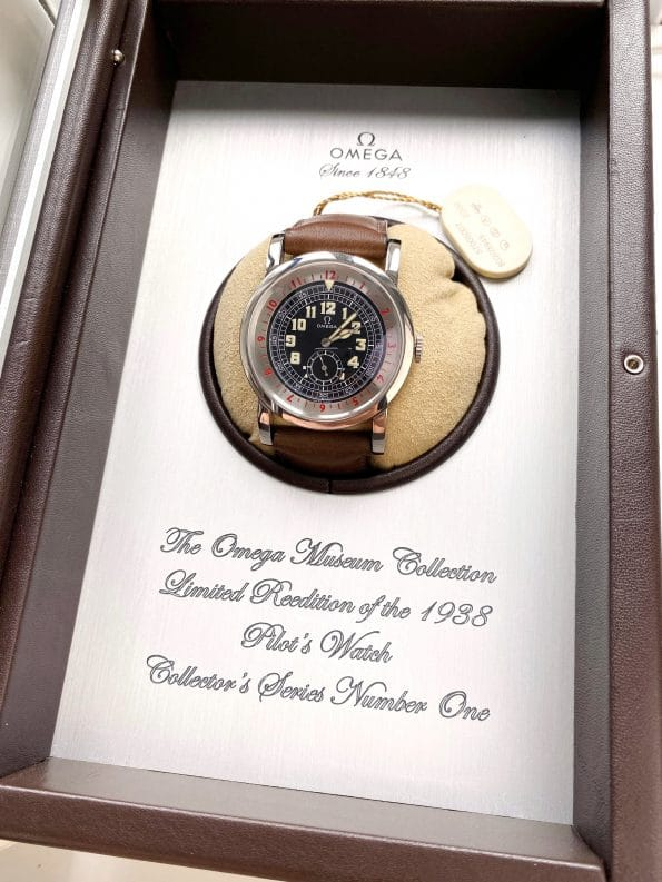 Nearly Unworn Omega Pilots Watch Box Papers Re-Edition Pilot Aviator Limited Edition Museum 1938