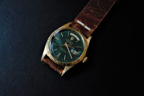 Rolex Day Date President in 18ct Yellow Gold with a green restored dial