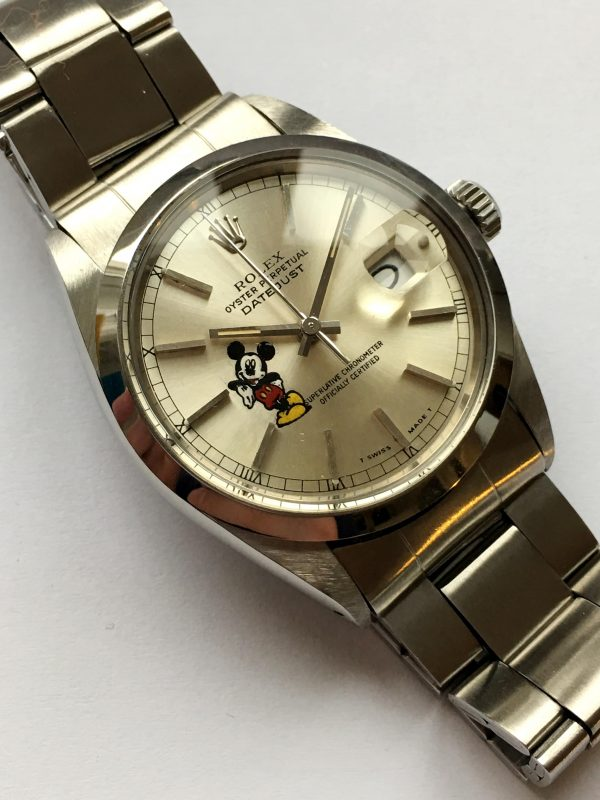 Serviced Rolex Datejust 36mm Steel silver Mickey Mouse dial