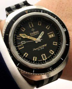 [:en]Diver Zodiac Automatic Super Sea Wolf Vintage[:de]Top Zodiac Automatik Super Seawolf Taucheruhr mit Drehlünette[:]